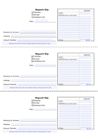 Bank Saving Deposit Slip Template