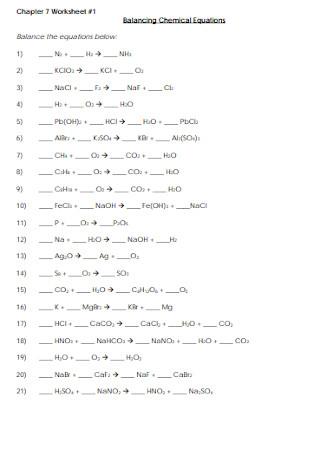 Basic Balancing Chemical Equations Worksheet Template