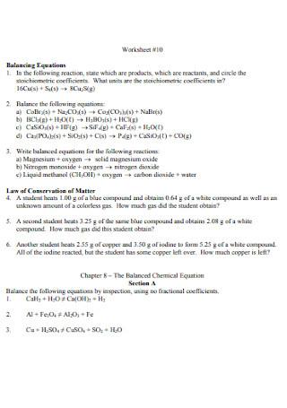 Basic Balancing Equations Worksheet Example