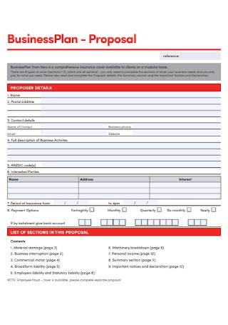 Basic Business Plan Proposal Template