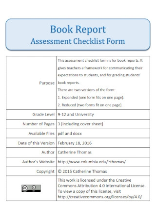 Book Report Assessment Checklist Form