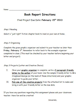 Book Report Directions Template