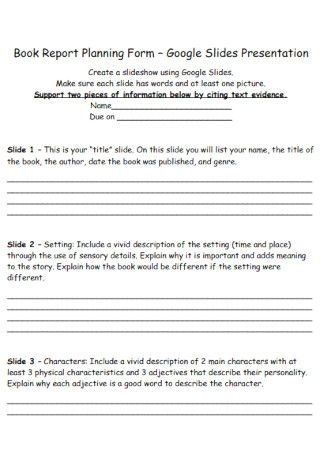 Book Report Planning Form