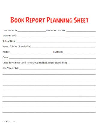 Book Report Planning Sheet