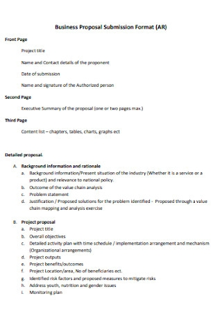 Business Proposal Submission Format
