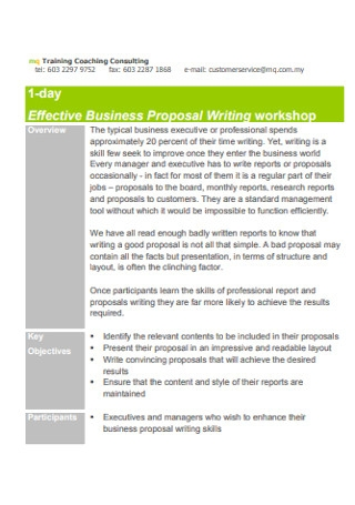 Business Proposal Writing workshop Template