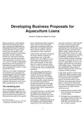 Business Proposals for Aquaculture Loans Template