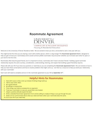 Campus Roommate Agreement Template