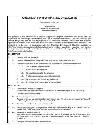 Checklist for Formating Checklists Template