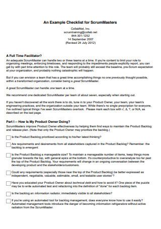 Checklist for ScrumMasters Example