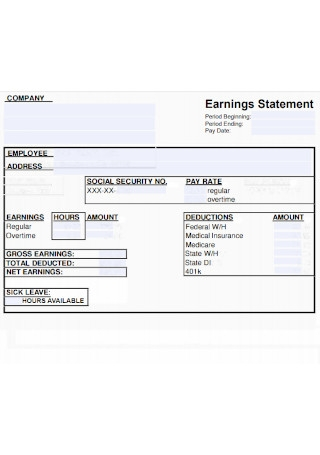 Company Earning Statement