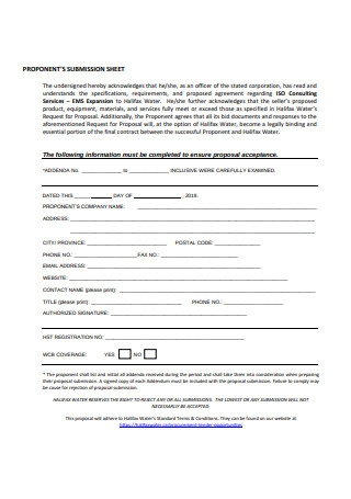 Consulting Proposal Sheet Template
