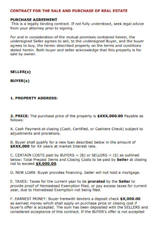 Contract for The Sales and Purchase Real Estate Example