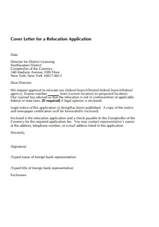 Cover Letter for a Relocation Application