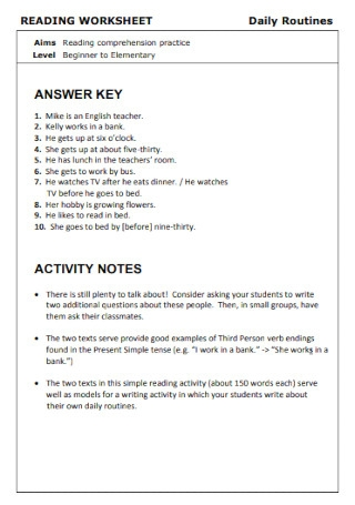 Daily Reading Worksheet Template