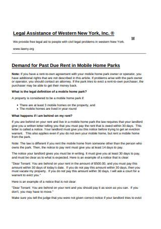 Demand Due Rent Notice Mobile Home Parks Notice Template