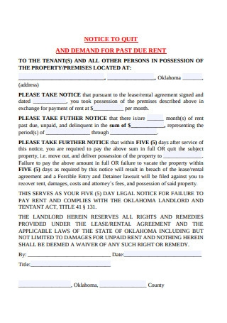 Demand for Past Due Rent Notice Template
