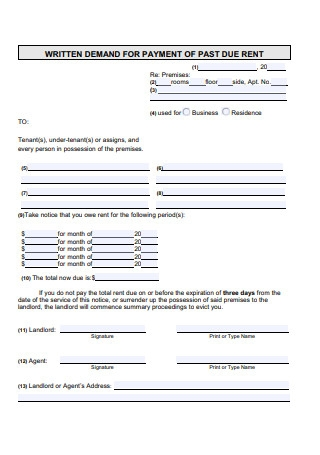 Demand for Payment of Past Due Rent Notice Template
