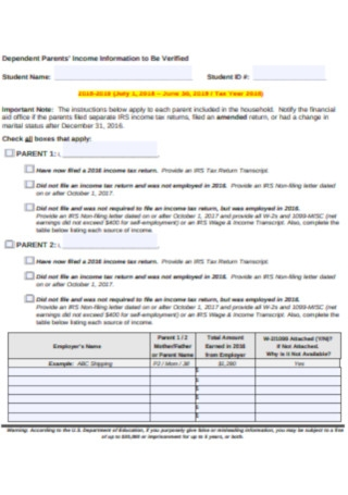 Dependent Parents' Income Information Letter Template