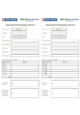 Deposit Slip for Investments Vide Cash