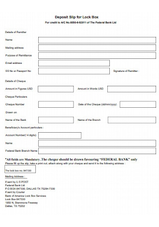 Deposit Slip for Lock Box Template