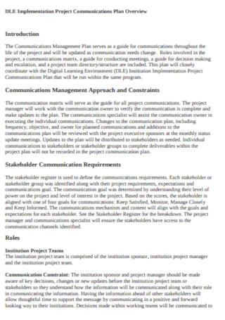 Digital Project Communications Management Plan