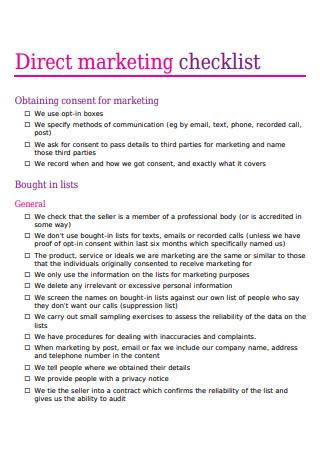 Direct Marketing Checklist