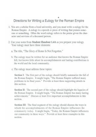 Directions for Writing a Eulogy Template