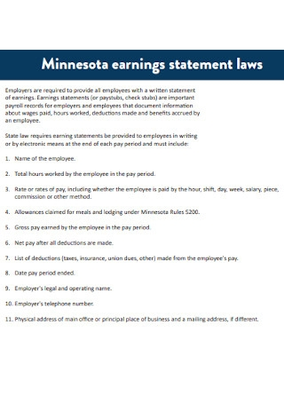 Earning Statement Laws Templates