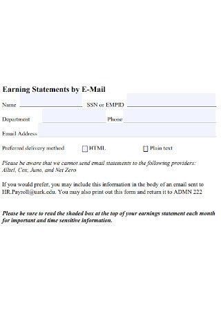 Earning Statements by E Mail Template
