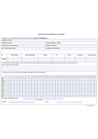 Earnings Statement Form Template