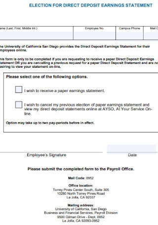 Election for Direct Deposit Eaning Statement