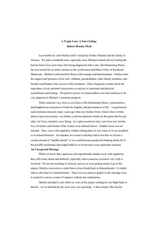 Eulogy for A Books Template