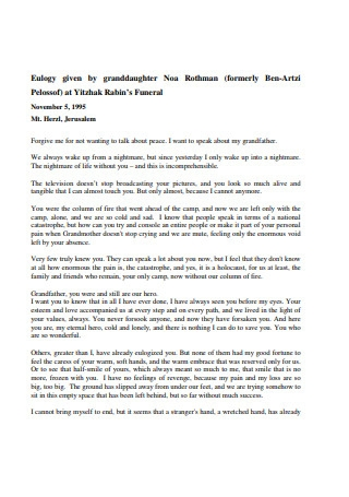 Eulogy given by Granddaughter Template