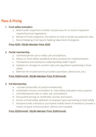 Food Safety Consulting Proposal