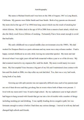 Formal Autobiography Speech Template