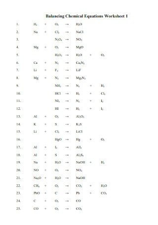 Formal Balancing Chemical Equations Worksheet