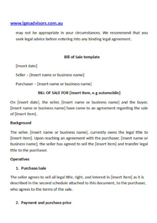 Formal Bill of Sale Contract Template