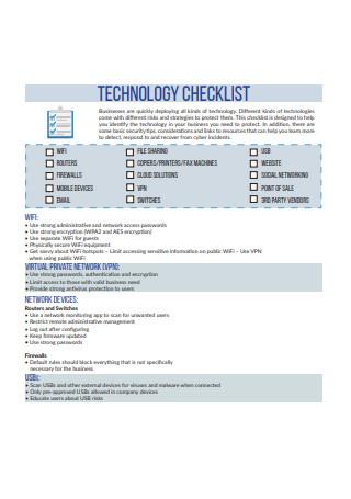 Formal Technology Checklist Template
