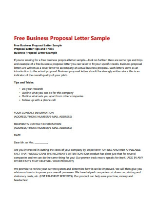 Free Business Proposal Letter Sample