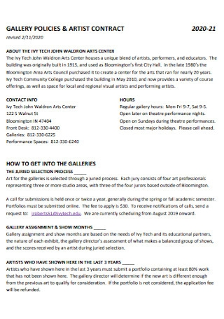 Gallay Policy and Artist Development Contract