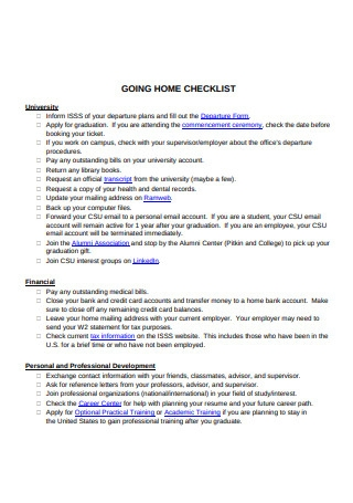Going Home Checklist Template