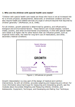 Growth Charts for Children with Special Health Care Template
