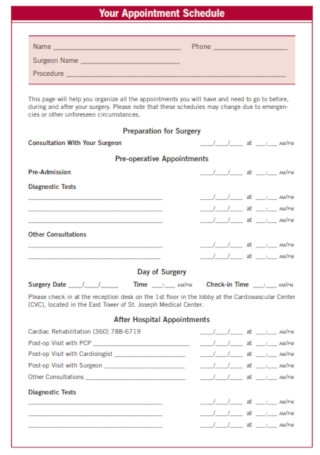 Heart Surgery Patient Appointment Schedule
