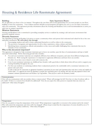 Housing and Residence Life Roommate Agreement