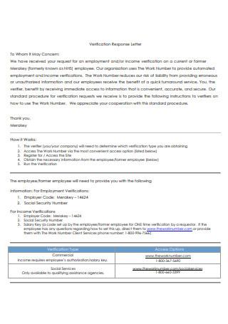 Income Verification Response Letter