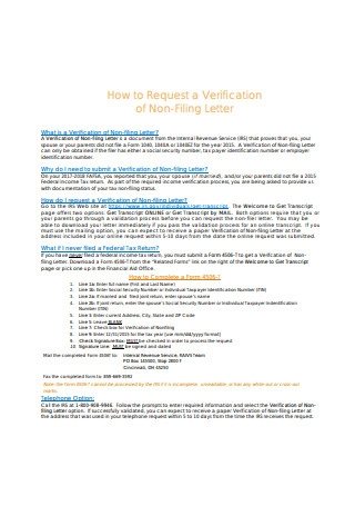Income Verification of Non Filing Letter