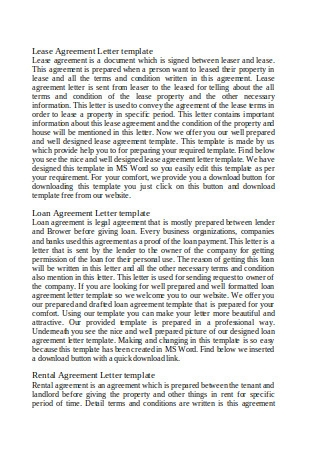 Lease Agreement Letter Format
