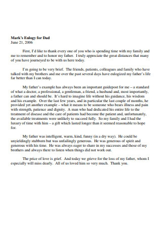 Mark's Eulogy for Dad