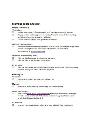 Member To Do Checklist